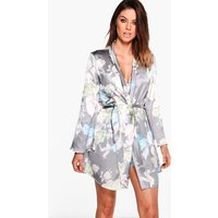 Womens Satin Floral Print dressing gown - grey - M, Grey