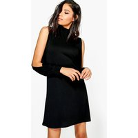 High Neck Split Sleeve Swing Dress - black