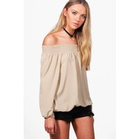 Woven Off The Shoulder Top - stone