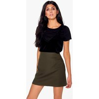 Textured Woven A Line Mini Skirt - khaki