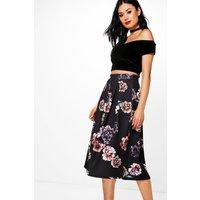 Dark Floral Box Pleat Skater Skirt - black