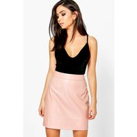 Woven A Line Leather Look Mini Skirt - blush
