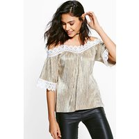 Metallic Cleated Cold Shoulder Top - gold