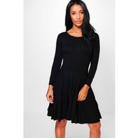 Long Sleeve Skater Dress - black