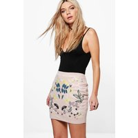 Embroidered Front Suedette A Line Mini Skirt - sand