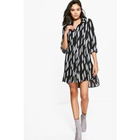 Stripe Shirt Dress - black