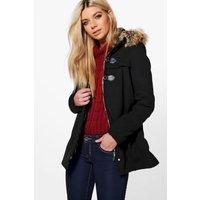 Buckle Front Faux Fur Coat - black