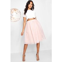 Womens Woven Lace Top & Contrast Midi Skirt Co-Ord - pink - 12, Pink
