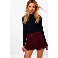 Womens Frill Detail Shorts - red - 10, Red