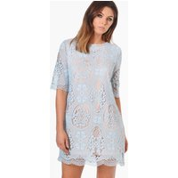 Crochet Lace Short Sleeve Shift Dress - sky