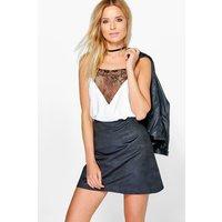Woven Suedette Mini Skirt - black