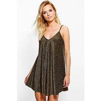 Metallic Low Back Swing Dress - gold