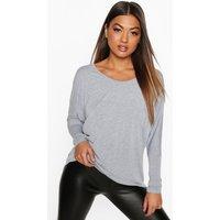 Long Sleeve Oversized T-Shirt - grey marl
