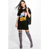 Bowie License T-Shirt Dress - black