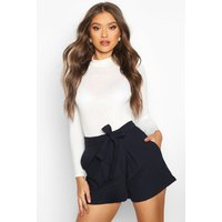 Tie Belt Shorts - navy