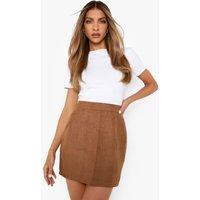 Woven Soft Suedette A Line Mini Skirt - tan