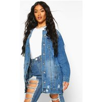 Womens Longline Distressed Denim Jacket - blue - M, Blue