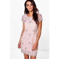 Mona Embellished Shift Dress - blush
