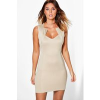 Structured Panelled Bodycon Dress - stone