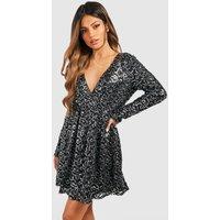 Womens Boutique Sequin Wrap Skater Dress - black - 16, Black