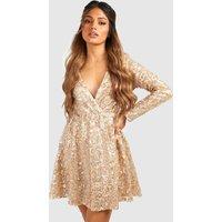 Womens Boutique Sequin Wrap Skater Dress - metallics - 14, Metallics