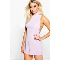 High Neck Lace Side Playsuit - lilac