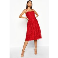 Womens Boutique Embroidered Strappy Midi Skater Dress - 12, Red