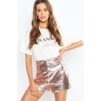 Womens Boutique All Over Sequin Shorts - Metallics - 10, Metallics