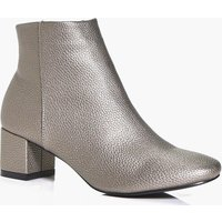 Block Heel Ankle Boot - pewter