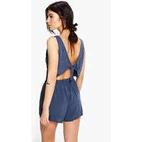 Womens Basic Tie Back Playsuit - navy - L, Navy