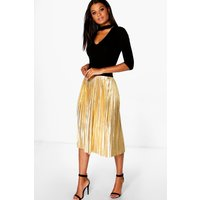 Metallic Pleated Midi Skirt - gold