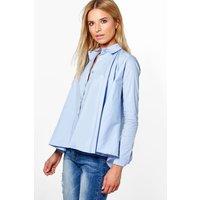 Woven Oversized Shirt - blue