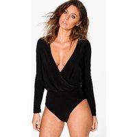 Long Sleeve Wrap Front Bodysuit - black