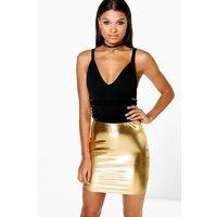 Metallic Mini Skirt - gold