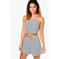 Striped Crop Top Short Co-ord Set - black