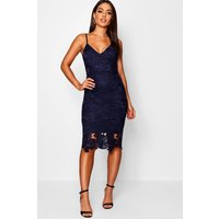 Womens Boutique Crochet Lace Strappy Midi Dress - navy - 10, Navy