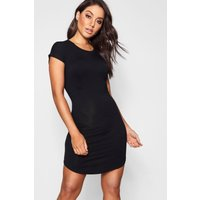 Basic Curved Hem T-Shirt Dress - black