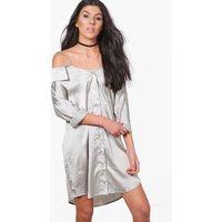 Off Shoulder Collar Shirt Dress - dove