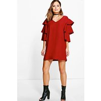 Ruffle Tier Sleeved Shift Dress - merlot