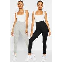 Womens 2 Pack Basic Deep High Waist Leggings - Grey - 12, Grey