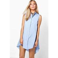 Sleeveless Drop Hem Shirt Dress - blue