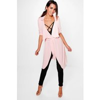 Waterfall Tie Waist Jacket - nude
