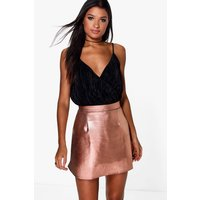 Metallic A Line Mini Skirt - rose gold