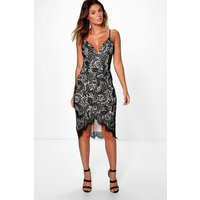 Emi Strappy Eyelash Lace Midi Dress - black