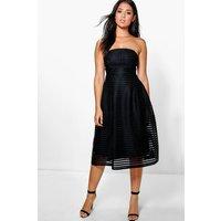 Panelled Midi Full Skirt Skater Dress - black