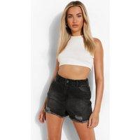 Womens Extreme Rip Denim Hotpants - Black - 12, Black