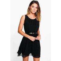 Sleeveless Chiffon Gold Belted Skater Dress - black