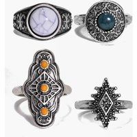 4 Piece Boho Stone Ring Pack - silver