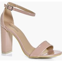 Block Heel Two Part Sandal - nude