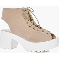 Peeptoe Lace Up Cleated Shoe Boot - nude
